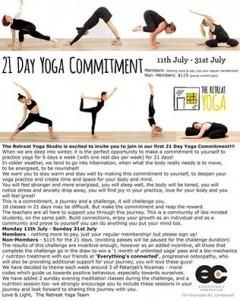 21 Day Yoga Challenge Flyer